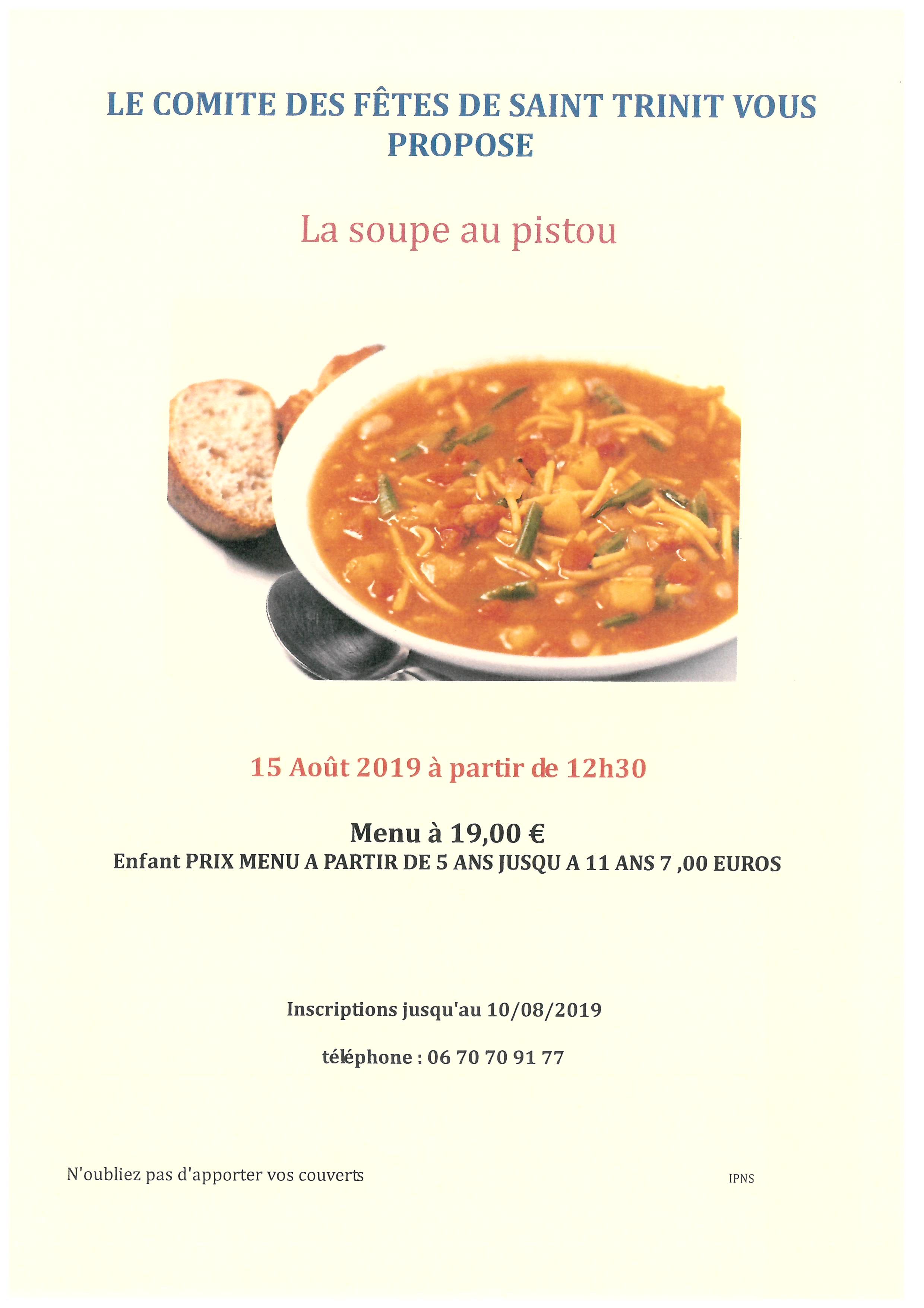 Soupe au pistou - Comité des Fêtes Saint-Trinit